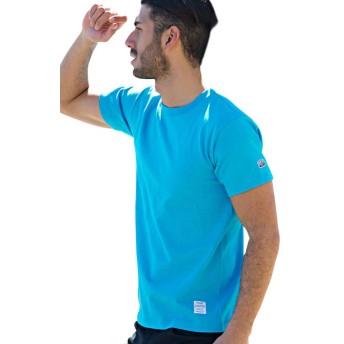 (キャバリア)CavariA メンズ 半袖 Tシャツ クルーネック ワンポイント ロゴ 無地 蛍光CAKK19-01 42(S) TUR(ターコイズ)【+】