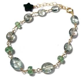 宝石質 AAA モスアクアマリンとグリーンカイヤナイトのブレスレット 天然石 k14gf
