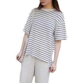 Gergeousレディース ボーダー Tシャツ ゆったり 夏服 夏物 トップス シンプル カットソー(FREESIZE白)