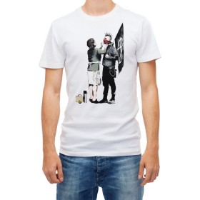 Banksy Anarchy Punk rabel Mum Street Art Graffiti White Men's T Shirt high quality (S)