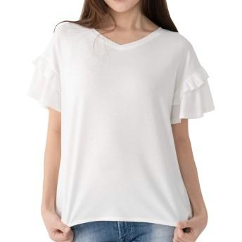 searina Tシャツ レディース 半袖 ゆったり無地ストレッチ素材冷感ひんやりチュニックトップス(ホワイト, M) (A80)