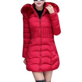 Zhhlinyuan ファッション ウォーム Classic Big Collar Cotton Coats Zip Padded Long 冬 Warm Outerwear for Women with Hooded