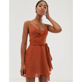 エイソス レディース ワンピース トップス ASOS DESIGN cami wrap mini dress with tie waist Cinnamon