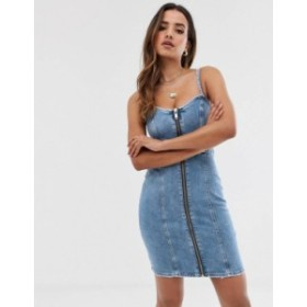 リバーアイランド レディース ワンピース トップス River Island denim dress with zip front in light wash Light auth