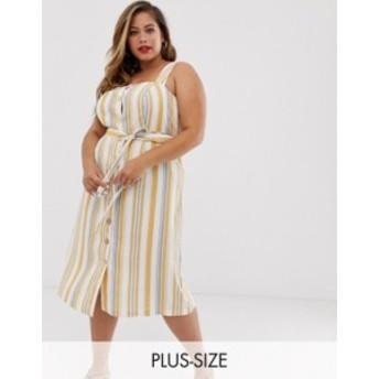 ニュールック レディース ワンピース トップス New Look Curve linen dress in white stripe White