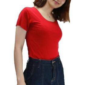 [PEACE LAND(ピースランド)] シームレス Tーシャツ エフォートレス 縫い目なし 下着 ボートネック シンプル 無地 綿 レディース赤 2XL