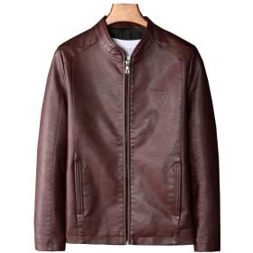 (ジュンィ) メンズ ライダースジャケット フェイクレザー レザージャケット 立ち襟 防寒 ファッション スリムワインレッドM