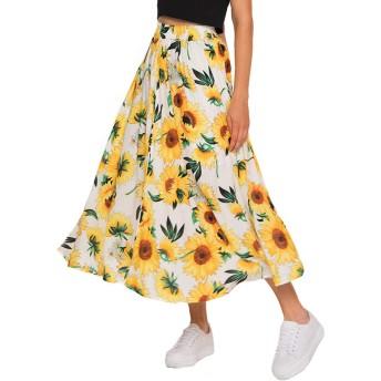 ロングスカート レディース フレア 花柄スカート ウエストゴム - aラインス ハイウエスト マキシスカート 大きいサイズ ギャザースカート ハワイアン リゾート ビーチ旅行 春夏 ホワイト XL
