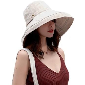 UVカット 帽子 レディース uv帽 紫外線対策 熱中症予防 日よけ ハット サイズ調整可能 可愛い ハット 小顔効果抜群 (あご紐つき) (M, ベージュ)