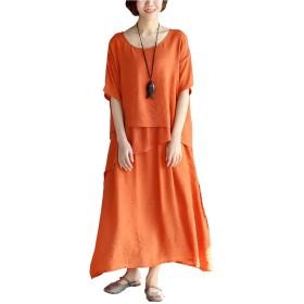 マキシワンピース 重ね着風 半袖 ロングワンピース 大きいサイズ 綿麻 無地ワンピース ゆったり 体型カバー 夏 レディース