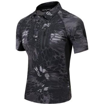 (上海物語)Shanghai Story アウトドア 速乾 シャツ タクティカル 半袖シャツ コンバットシャツ 多色選択 3XL Python Black