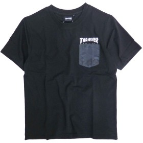 THRASHER Tシャツ 半袖 胸ポケット スラッシャー 半袖Tシャツ カモフラ柄 ポケット (Lサイズ, ブラック/チャコール)