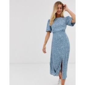 ニュールック レディース ワンピース トップス New Look puff sleeve midi dress in blue spot Blue pattern