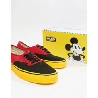 バンズ メンズ スニーカー シューズ Vans x Mickey Mouse Authentic plimsolls in red VN0A38EMUK91 Red