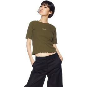 [ウィゴー] WEGO メロウ リブ ロゴ T シャツ 5分袖 F フリー カーキ レディース
