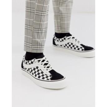 バンズ メンズ スニーカー シューズ Vans Bold checkerboard sneakers in black Black