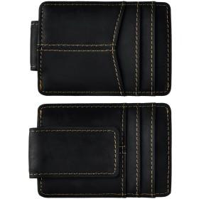 メンズ 本革 薄型 スリム ミニ 多機能小銭入れカードケース ブロッキング 財布 磁気マネークリップ W1017 (ブラック)