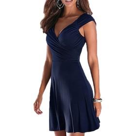 女性のカジュアルな深いv -サープリス・ルーシュの毎日のスウィングラインショートドレス Blue S