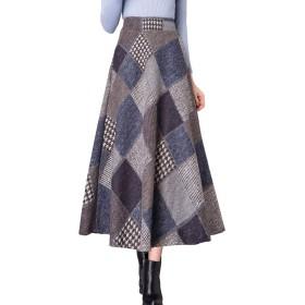 レディース 大きいサイズ 秋 冬 ロング スカート ウール 厚手 無地 チェック柄 11色 スカート (L, gグレー)