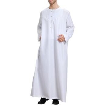 Zhhylttイスラム教徒男性ローブアラブThobe Thawb Caftan Dubai ローブ Saudi Style Dishdasha 民族服(カラーグレー&ホワイト)