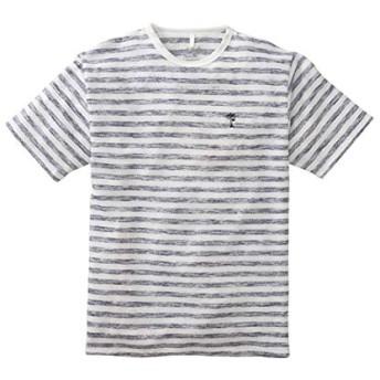 [nissen(ニッセン)] 変わり編ボーダー 半袖 Tシャツ メンズ 杢ネイビー系 L