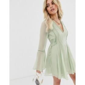 エイソス レディース ワンピース トップス ASOS DESIGN lace up mini dress with ladder trim Sage green