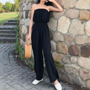 ロンパース パーティー ワイドパンツ オールインワン ドレス お呼ばれ パンツドレス 黒 レディース 結婚式