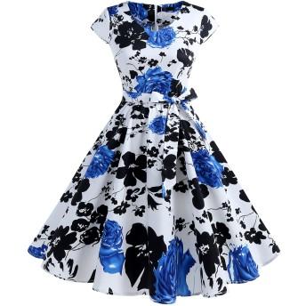 IVNIS レディースワンピース 花柄 レトロ V襟 ポケット リボン スイング Aライン 膝丈 フォーマル パーティードレス 大人 可愛い お呼ばれ 結婚式 二次会 Blue Flower M