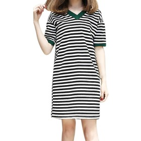 Top Homie レディース ワンピース 春夏 ゆったり 半袖 ひざ丈 大きいサイズ 女性 カジュアル 体型カバー お呼ばれ きれいめ ワンピース