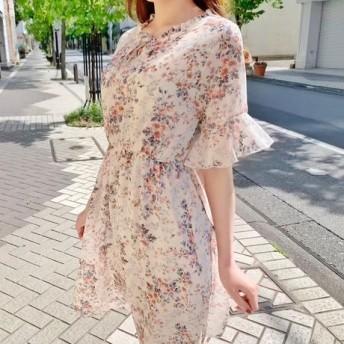 ♪送料無料 夏セール30%割り♪ 4色 韓国新作花柄ネックリボンワンピース