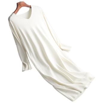 レディース ファッション ニット ワンピース ロング セーターワンピース ホワイト