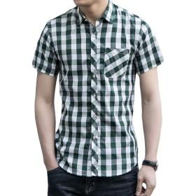 ZhongJue(ジュージェン)チェックシャツ メンズ 半袖 スリム シャツ ボタンタワン チェック柄 ファッション ネルシャツ 爽やか おしゃれ メンズシャツ 大きいサイズ 通勤 夏(8グリーン)