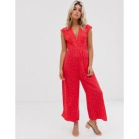 エイソス レディース ワンピース トップス ASOS DESIGN tea jumpsuit in red polka dot  Red/white