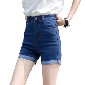 PASA レディース ストレッチ 短パン デニム ショートパンツ ハイウエスト 着痩せ 韓国ファッション ホットパンツ 大きいサイズ ブルー 27