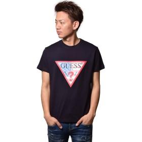 (ゲス) GUESS メンズ アメリカ国旗柄 トライアングル ロゴ 半袖 Tシャツ MI2K8505MI (S, ネイビー)
