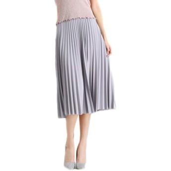 ASHERANGELレディース 膝丈 プリーツスカート 通勤 ベーシック スカート シンプル ふんわり ウエストゴム 着痩せ 無地 ひざ丈 13カラー フリーサイズ グレー -1