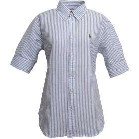 (ラルフローレン) Ralph Lauren レディース ポニーワンポイント 半袖 ボタンダウン オックスフォード シャツ (XL, BLUE/WHITE) [並行輸入品]