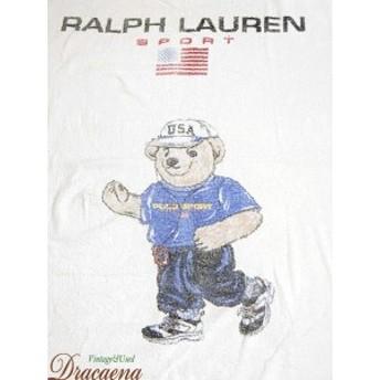 古着 雑貨 90s USA製 Ralph Lauren SPORT ラルフ 「Runner POLO BEAR」 ポロベア パイル地 ビーチ タオル マット ブランド 古着