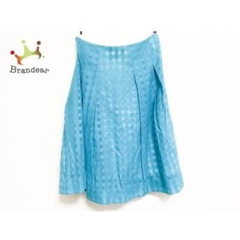 アマカ AMACA スカート サイズ40 M レディース 美品 ブルー×ライトブルー メッシュ/チェック柄 新着 20190726