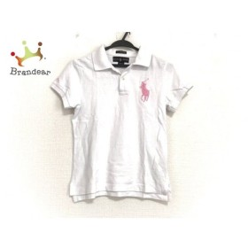 ラルフローレン RalphLauren 半袖ポロシャツ サイズM レディース 美品 ビッグポニー 白×ピンク 新着 20190726