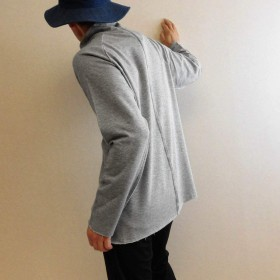 m's SALUTE (エムズサルート)ハイネック タートル モックネック カットソー カットオフ 長袖Tシャツ 日本製 (M(46), 杢グレー)
