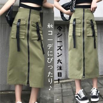 韓国ファッション INS熱い販売 新登場! 個性的なデザイン スカート タイトスカート ハイウエスト スリム 着痩せ 無地 シンプル