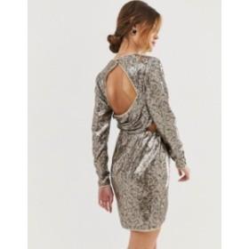 エイソス レディース ワンピース トップス ASOS DESIGN open back mini dress in snake sheet sequin Animal sequin