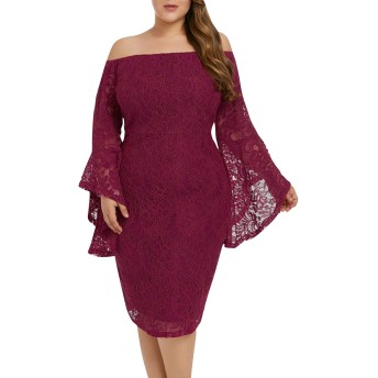 [Y-BOA] レース ワンピース ボディコン ドレス ひざ丈 オフショルダー 大きいサイズ レディース エレガント フォーマル パーティー お呼ばれ 二次会 披露宴 結婚式 レッド XL