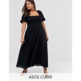 エイソス レディース ワンピース トップス ASOS DESIGN Curve shirred bustier maxi dress with puff sleeve in seersucker Black