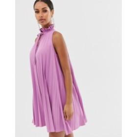エイソス レディース ワンピース トップス ASOS DESIGN pleated mini dress with high neck detail Lavendar