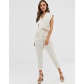エイソス レディース ワンピース トップス ASOS DESIGN linen boilersuit with tie waist and pockets Natural