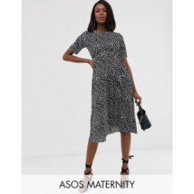 エイソス レディース ワンピース トップス ASOS DESIGN Maternity midi tie waist plisse dress in mono spot Spot print
