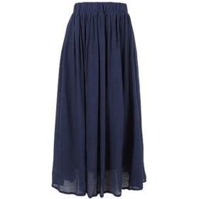 [神戸レタス] 透け感 爽やか スラブ素材マキシ丈スカート レディース [M1634] ワンサイズ(M) ネイビー