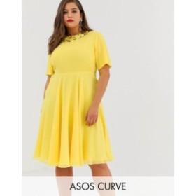 エイソス レディース ワンピース トップス ASOS DESIGN Curve crop top embellished neckline midi dress Lemon yellow